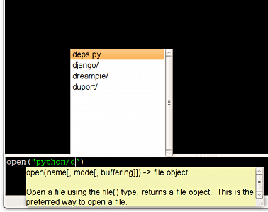 Function documentation and filename completion.